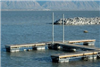 Dock in Harbor Area With Mountain Range in Background