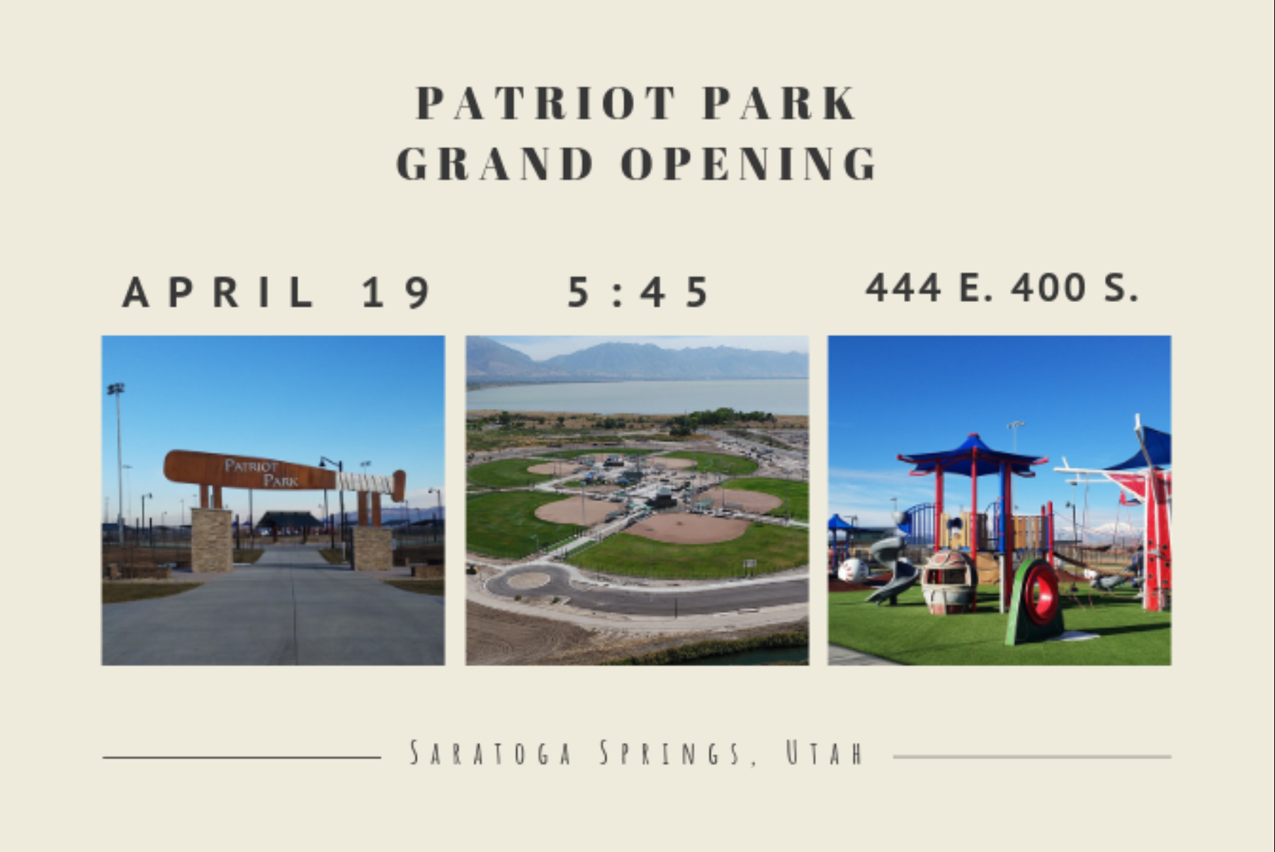 Patriot Park grand opening advertisement