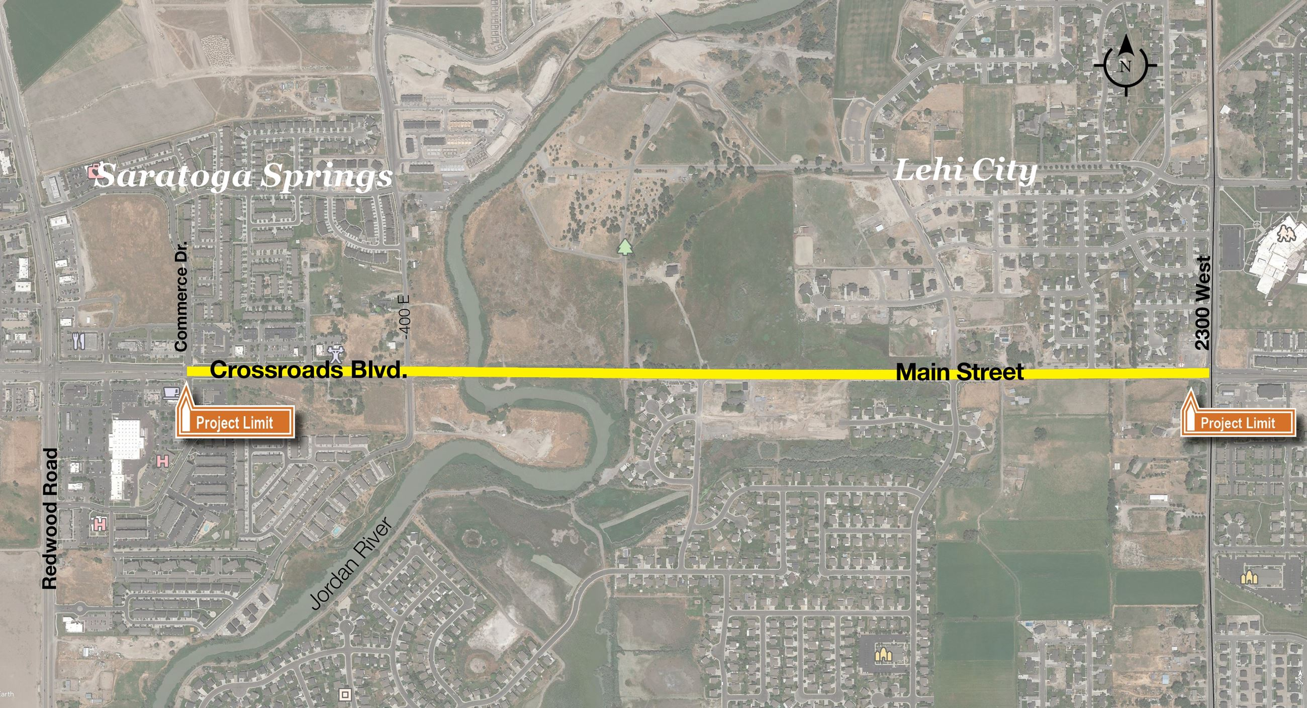 map of Lehi Main Street with Markings showing the construction zone Opens in new window