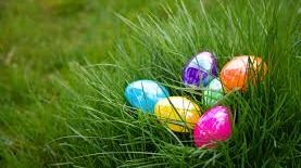 Easter eggs hidden in a large tuft of grass