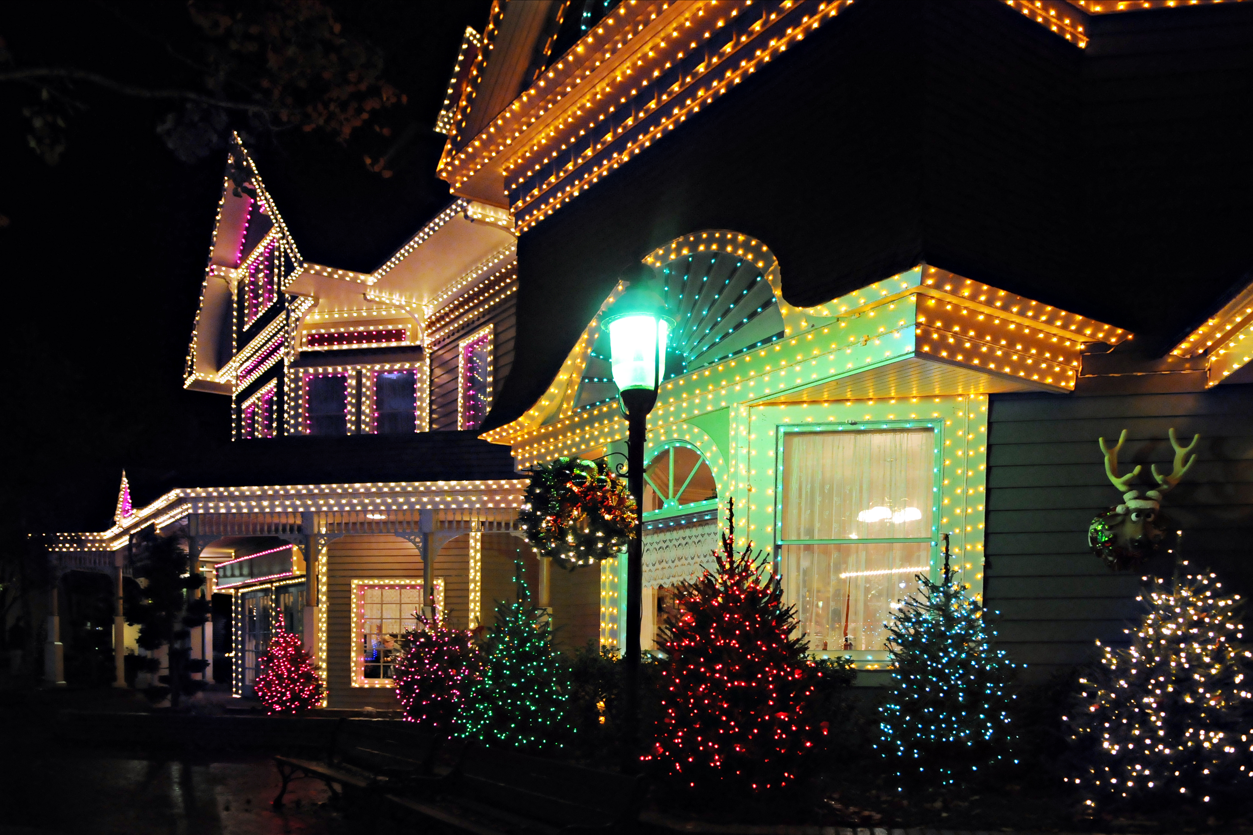 houses decorated with lights for Christmas